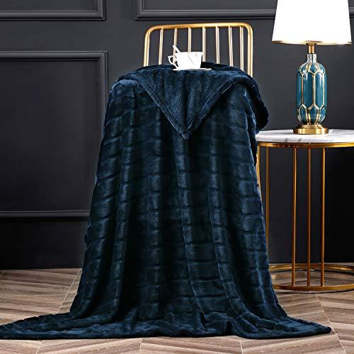 "Bertte 330 GSM Lightweight Fluffy Cozy Luxury Decorative Stripe Bed Couch Plush Throw Super Soft Fuzzy Warm Blanket, Twin(60""x 80""), Navy"