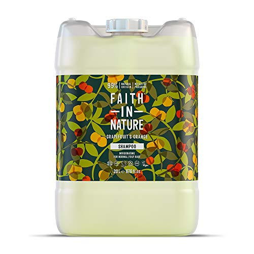 Faith in Nature Natural Grapefruit and Orange Shampoo, Invigorating, Vegan and Cruelty Free, Parabens And Sls Free, For Normal To Oily Hair, 20 L Refill Pack
