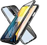 Funda para Huawei Mate 10 Pro, Transparente Delantera y Trasera Vidrio Templado Carcasa, 360 Grados Full Body Protección Magnetic Adsorption Tecnologia Bumper de Aluminio Flip Case Cover, Negro