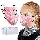 3 Stück Mundschutz Kinder waschbar Baumwolle mit 6 Filter, Anti-Staub Mundschutz Wiederverwendbar Radfahren Gesichtsschutz für Camping, Laufen (Rosa)
