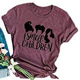 MAOGUYUN I Smell Children T Shirt Women Funny Sanderson Sisters Graphic Tee Halloween