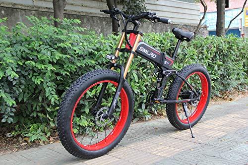 Bicicletas eléctricas de 26 pulgadas, bicicleta eléctrica de montaña plegable, 1000W 48V13ah, batería de células, bicicleta eléctrica, bicicleta eléctrica para hombres de mujeres (Batería 13ah)