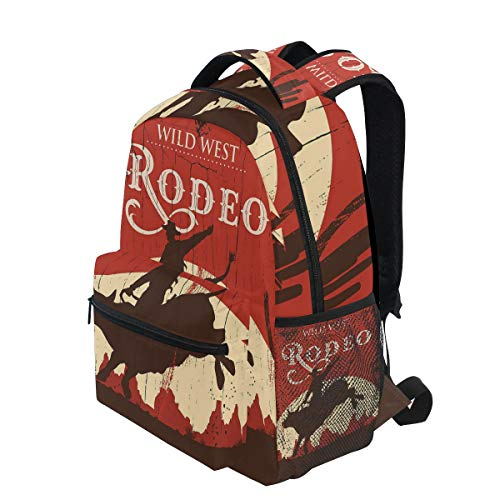 KVMV Rodeo Cowboy Riding Bull Wooden Old Sign Western Style Wilderness at Sunset Lightweight School Backpack Students College Bag Travel Hiking Camping Bags