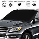 Car Frost Guard Windshield Cover for Ice and Snow,Windshield Snow Cover with 4 Layer Protection and Elastic Hook Design for Anti Snow,Ice,Frost,Sunlight.Car Snow cover Fits for Most Car,SUV,Truck,Van