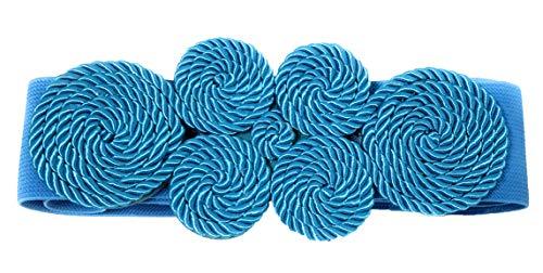 BRANDELIA Cinturón Elástico Mujer Fiesta Estilo Cordón de Seda para Combinarlo Con Vestidos o Faldas, Azul Claro