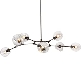 LUOLAX Modern Black Pendant Light Glass Chandelier with 7 Lights Fixture Hanging Flush Mount (7 Heads-Clear)