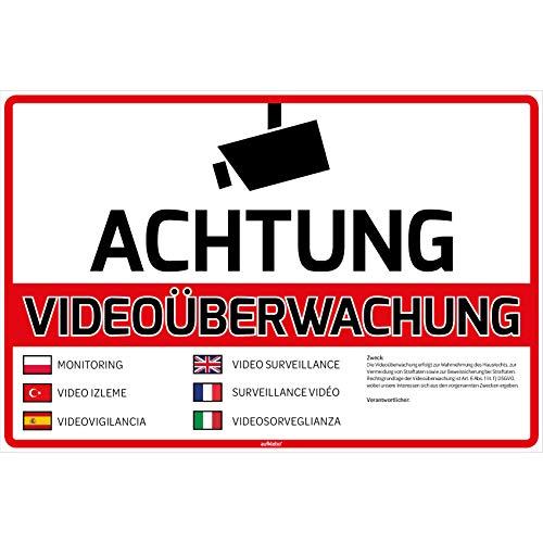 Achtung Videoüberwachung Schild DSGVO Warnschild 30x20 cm Hartschaumplatte Kameraüberwachung Videoüberwacht Schild Hinweisschild Warnschild Achtung