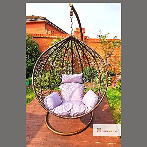 Large Brown Hanging Rattan Swing Patio Garden Chair Weave Egg with Cushion Indoor and Outdoor- The WINNER 2021*