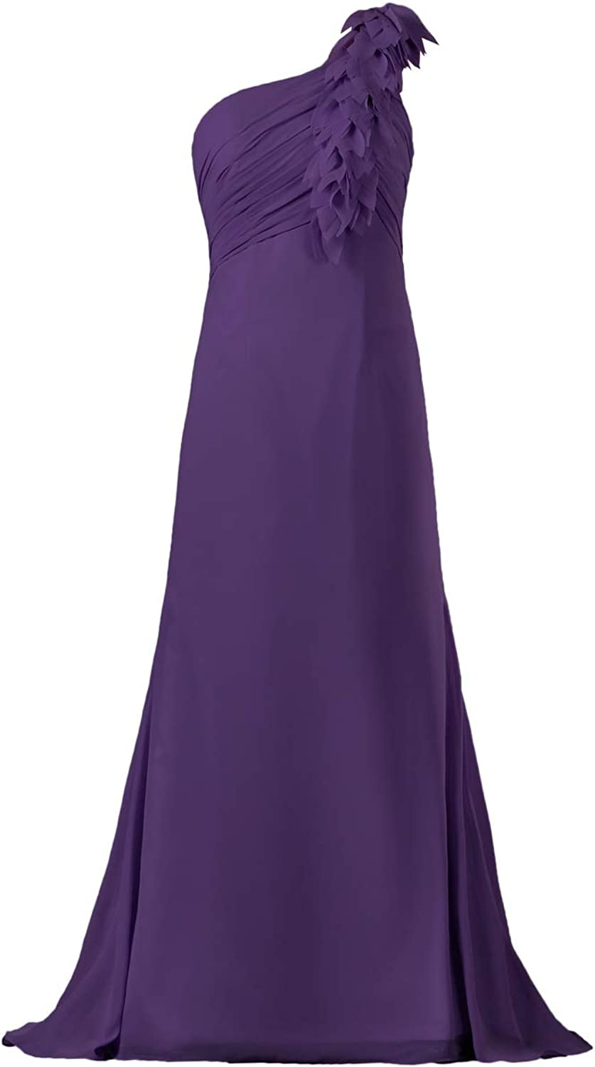 ANTS Women's One Shoulder Flower Long Bridesmaid Dress Gown
