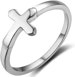 925 Sterling Silver Classical Plain Christian Sideways Cross Religious Faith Prayer Ring