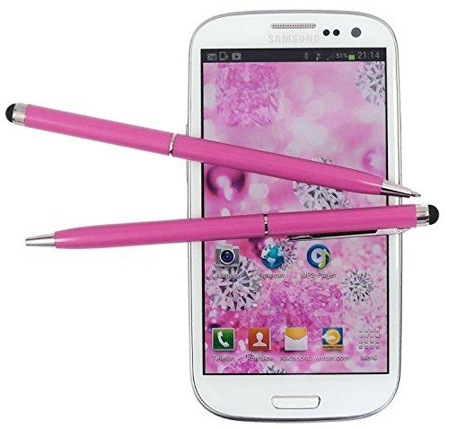 tomaxx 2X Pink Stylus Pen - Eingabestift mit Kugelschreiber für ZTE Axon 7 / ZTE Axon 7 Mini