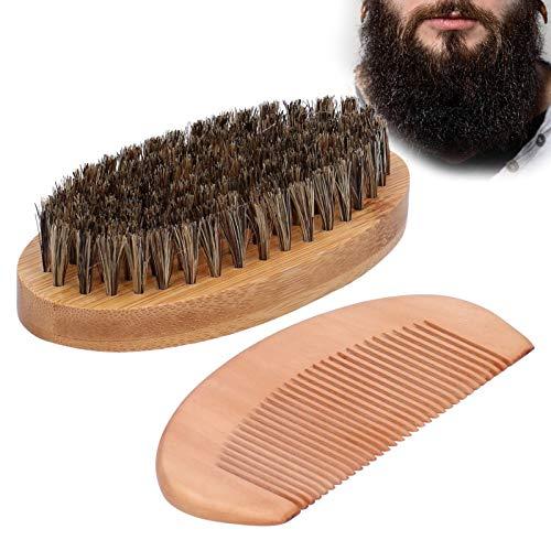 Cepillo para barba con juego de peine y cerdas de jabalí, kit de cuidado de barba para hombre, cepillo ovalado para bigote y peine para masaje de barba con cerdas de madera