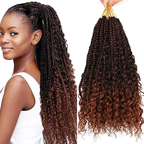 7 Packs 12 Inch Crochet Box Braids Hair with Curly Ends Prelooped Bohemian Goddess Box Braids Crochet Hair Braiding Hair Crochet Braids Hair for Black Women (Bohomian 12 Inch 7 Packs, T30#)
