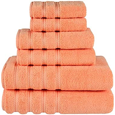 Premium, Luxury Hotel & Spa Quality, 6 Piece Kitchen and Bathroom Turkish Towel Set, Cotton for Maximum Softness and Absorbency by American Soft Linen, [Worth $72.95] (Malibu Peach)