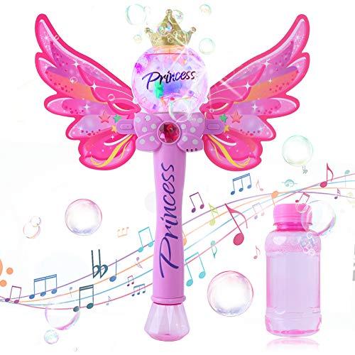 Ulikey Maquina Burbujas para Niños, Portátil Máquina de Burbujas Varita Hadas con Música y Luz, Soplador de Pompas Jabon Bubble Maker para Niños y Adultos para Fiestas, Cumpleaños, Bodas (Colour 1)