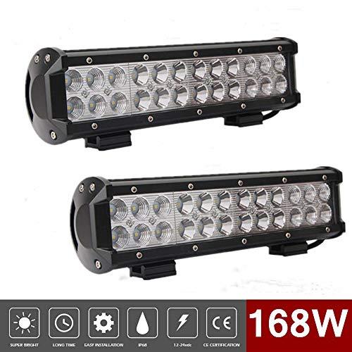 LED Arbeitsscheinwerfer, 168W 12 zoll Scheinwerfer Flutlicht Spotlight Wasserdicht IP68 Geländewagen Lastwagen Kabine Boot Truck ATV SUV (2 Pcs)