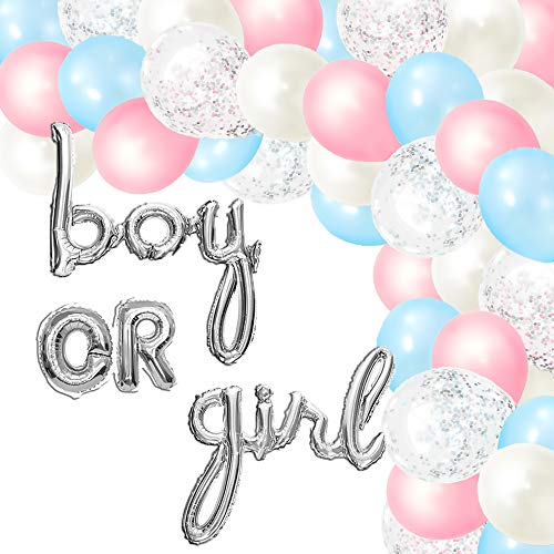 Gender Reveal Party Supplies (115 Pieces) - Includes Pink and Blue Balloons for Balloon Garland Arch Kit and Boy or Girl Decorations - He or She Decor by Julri Boutique