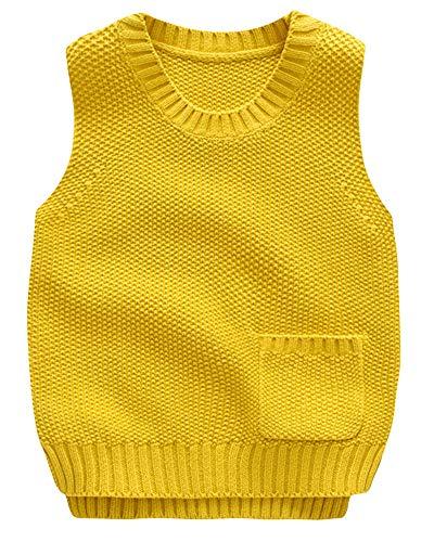 Shengwan Strickweste Kinder Jungen Ärmellos Sweater Pullover Rundhalsausschnitt Weste Top Gelb 100cm