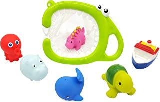 UUFFOO Baby Bath Toys For Toddlers Floating Fun Animal Rubber Bath Squirt Toys With Organizer Bathroom Kids Shower Bathtube Float Dinosaur Water Toys Gift (7 Pack)