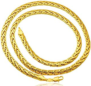 قلادة بسلسلة ثعابين مكتنزة للرجال مطلية بالذهب الحقيقي عيار 18 قيراط مع ختم معدني مطلي بالذهب 18 قيراط للجنسين