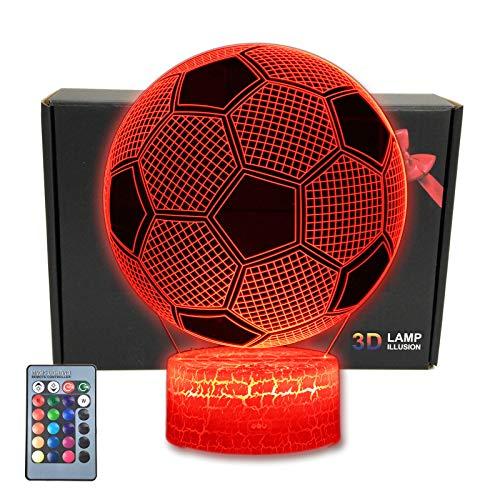 MARZIUS LED-Nachtlicht in Fußballform, 3D-Optische Illusion Nachtlicht, 16 Farben, mit USB-Stromkabel, für Fußball-Fans Geschenk (Football)