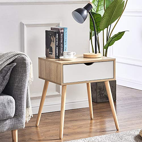 HomeSailing EU Wooden Bedside Table 1 Drawers Nightstand Nordic Sofa Corner End Side Table with Wood Legs Scandinavia Standing Cabinet for Bedroom Living Room Guest Room Furniture
