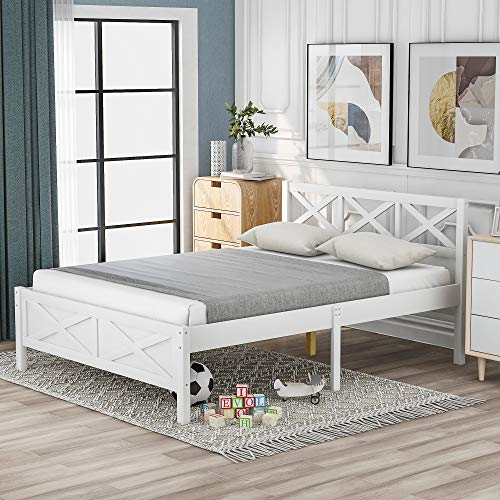 Merax Full Size Bed Frame with Headborad, Wood Full Platform Bed Frame for Kids Teens Adults,380 lbs Weight Limits White