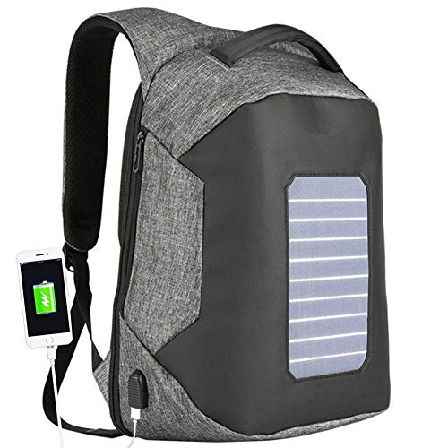 MXXQQ Solar Backpack, 6W Integrated Solar Panel, with External USB Charging Port, Waterproof Scratch-Resistant Solar Knapsack,15.6'' Laptop Compartment,Gray