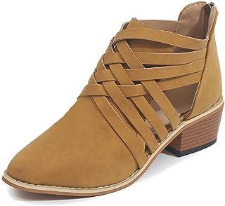 ad0729e1 Minetom Mujer Verano Otoño Botas Cortas Elegante Cómodas Antideslizante  Tacón Ancho Zapatos Chic Ahuecar Cremallera Bootie
