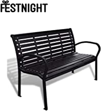 Festnight 3-Seater Outdoor Patio Garden Bench Porch Chair Seat with Steel Frame Solid Construction 49