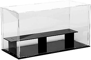 Lanscoeeフィギュアケース アクリルケース ディスプレイケース コレクションケース ショーケース 飾りケース ケース フィギュア 展示ケース 透明 台座 模型 人形 ひな壇 陳列 アクリル (台座黒, 2階式 28x12x15cm)