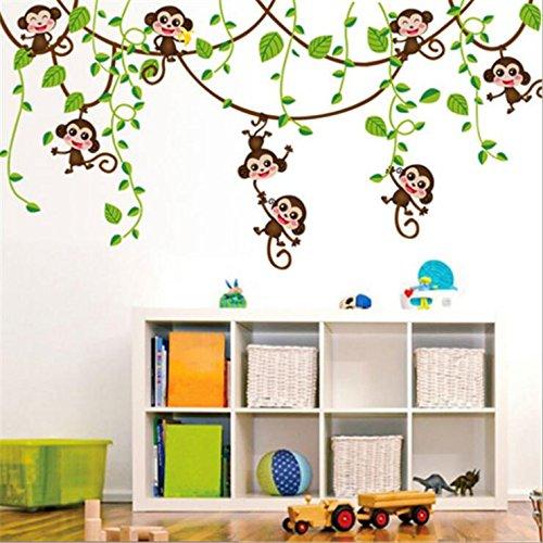 HALLOBO® Wandtattoo AFFE Schaukel Affen Wandaufkleber Monkey Wandsticker Kinderzimmer Kinder Baby Babyzimmer