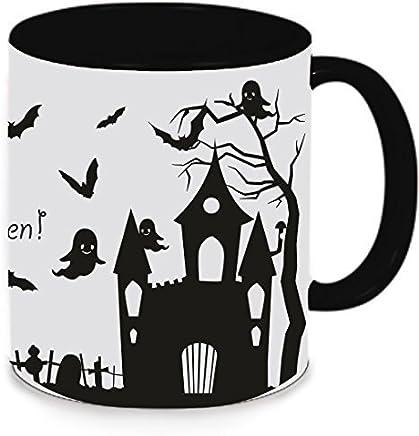 Preisvergleich für Livingstyle & Wanddesign Tasse Trinkbecher Kaffeetasse Teetasse Halloween Happy Halloween (Motiv 6, schwarz)