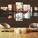ZCYZYM Arte de la Lona de Alta definición for Pintura en la Sala de Estar/Cocina/Bar/Restaurante decoración de la Pared 5 Piezas de Vidrio de Vino Rojo de Oro de la Cerveza Poster Pictures
