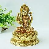 "alikiki 6.3"" H Lakshmi On Lotus Polystone in Antique Gold, lndian Laxmi Statue Hindu Murti Figurine for India Buddha for Home Temple Mandir Hindu Gods and Goddesses for Diwali Party Present Birthday"