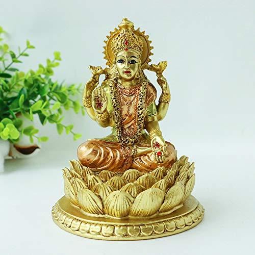 alikiki 6.3' H Lakshmi On Lotus Polystone in Antique Gold, lndian Laxmi Statue Hindu Murti Figurine for India Buddha for Home Temple Mandir Hindu Gods and Goddesses for Diwali Party Present Birthday