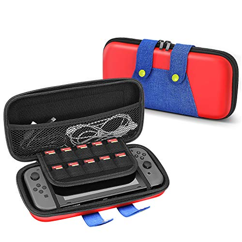 TNP Travel Case for Nintendo Switch Mario Theme Portable Travel Carry Hard Shell EVA Material Pouch Traveler Deluxe Cover with Strap Handle for Switch Console, Joy Con Controller, Game Card Holders