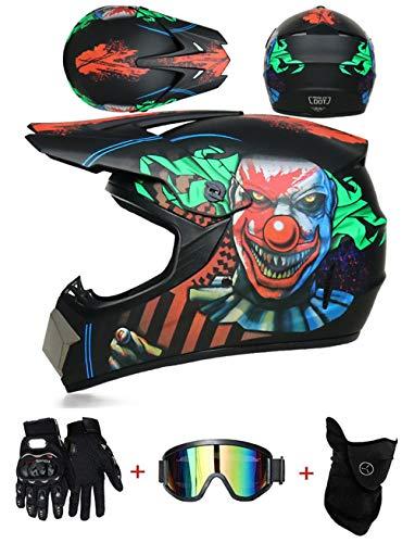 ZLCC Casco de Motocross Profesional, Cascos de Cross de Moto Set con Gafas/Máscara/Guantes, Niño Motos Deportivas Off-Road Enduro Casco ATV MTB BMX Quad Cascos de Motocicleta (C-12,S: 52-56 cm)