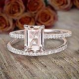 1.5 Carat Peach Pink Emerald Cut Morganite Diamond Engagement Ring Wedding Bridal Set with 18k Gold Plating