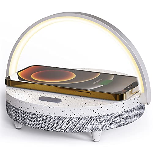 LED Night Light, EZVALO Music Table Lamp with Wireless Charger, 4 in 1 Touch Control Bedside Lamp,Portable Bluetooth Speaker, Cell Phone Stand, Dimmable Wireless Charging Lamp for Bedroom Living Room