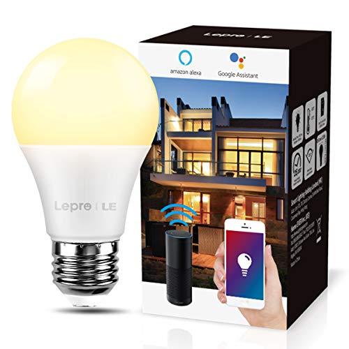 LE E27 Smart Lampe, 9W Smarthome Glühlampen WLAN LED Birnen WiFi LED Light Bulb 806LM Smart Home Lampen Dimmbare Birne, 2.4 GHz, Dimmbares Warmes Licht, Kompatibel mit Alexa Echo, Google Home, 1 Pack