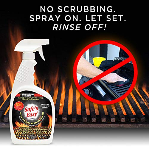 Safe 'n Easy BBQ Grill Cleaner and Degreaser Spray, Heavy Duty Low Odor, No Scrubbing, Spray On, Rinse Off (22 oz Spray, 1 Gallon Refill)