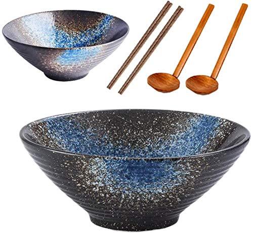 DZCGTP Japanese Ramen Bowls, 50 oz Large Ceramic Stackable Soup Bowls, 2 Sets 6 Pcs with Matching Spoons, Chopsticks, for Noodle, and, Blue