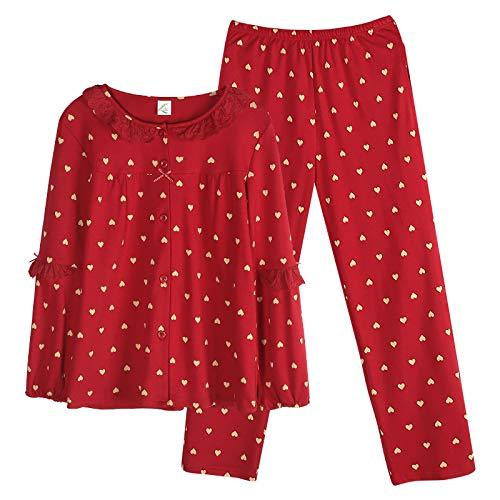 DFDLNL 2 uds Conjuntos de Pijamas de Mujer Solapa de algodón Completo de Manga Larga Ropa de casa Pijamas de Mujer Ropa de Dormir roja otoño XXXL