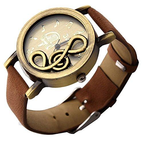 TOOGOO(R) Neue Retro-Musical Note Zifferblatt Quarz-Bewegung Uhr mit PU-Leder-Armbanduhr Kaffee