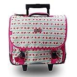 Cartable sac à dos à roulettes 2 compartiments, 38CM 21L, très leger, pink flower