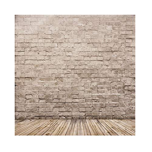 YongFoto 3x3m Vinyl Foto Hintergrund Alter Innenraum mit Backstein und Hölzernem Fußboden Ziegel Fotografie Hintergrund für Photo Booth Erwachsene Kinder persönliche Portrait Studio Requisiten