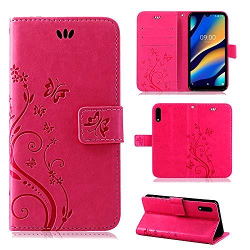 betterfon | Wiko View 3 Lite Hülle Flower Case Handytasche Schutzhülle Blumen Klapptasche Handyhülle Handy Schale für Wiko View 3 Lite Pink