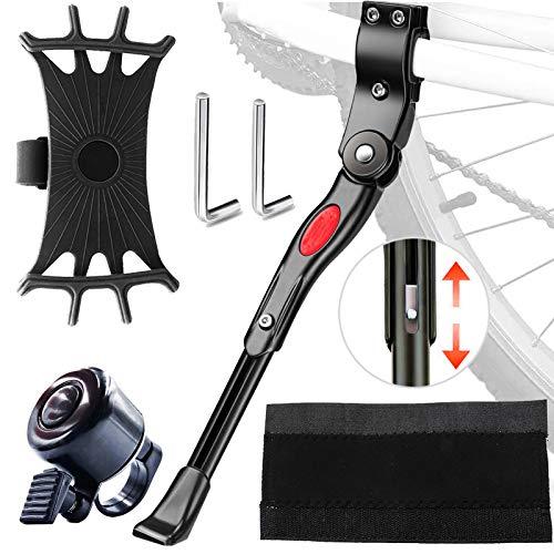 SPROUTER Pata de Cabra de Bici, Aluminio Soporte Ajustable del Retroceso de Bici, para Bici de 24-29 in, con Soporte para Teléfono Giratorio de 360 °, Campana de Bici, Protector de Cadena de Bici
