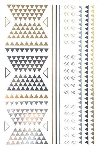 Spestyle Nouveau design vente chaude d'or Gold & Silver & Black Metallic autocollants de tatouage temporaire design de mode de bijoux
